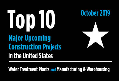 Top 10 major upcoming Water Treatment Plant and Manufacturing & Warehousing construction projects - U.S. - October 2019 Graphic