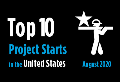 Top 10 project starts in the U.S. - August 2020 Graphic