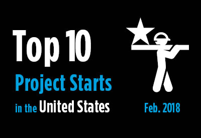 Top 10 project starts in the U.S. - February 2018