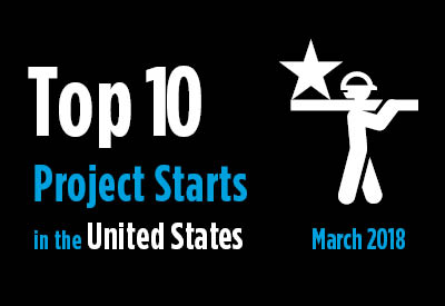 Top 10 project starts in the U.S. - March 2018