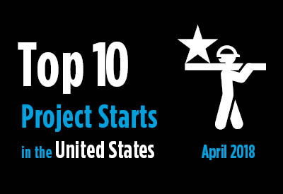 Top 10 project starts in the U.S. - April 2018