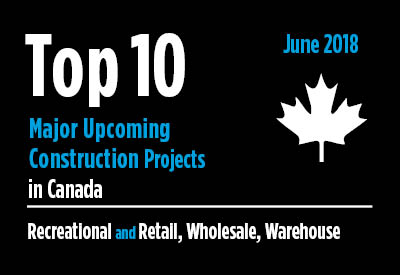 20 major upcoming Recreational and Retail, Wholesale, Warehouse construction projects - Canada - June 2018 Graphic