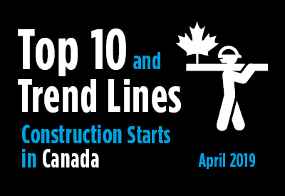 Top 10 largest construction project starts in Canada and Trend Graph - April 2019